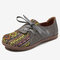 LOSTISY Women Pattern Splicing Decor Comfy Flat Casual Loafers - Gray
