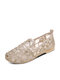 Women Casual Comfortable Fishnet Shoes Round Toe Breathable Flats - Gold