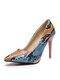 Women Colorful Snake Pattern Pointed Toe Slim High Heels Halloween Party Pumps - Pink