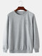 Mens Simple Rose Pattern Cotton Round Neck Casual Loose Pullover Sweatshirt - Gray