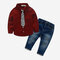 Boy's Striped Tie Button Long Sleeves Casual Shirt+Pant for 2-10Y - Red