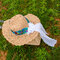 Women Embroidered Printed Straw Hat With Scarf - Khaki