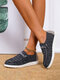 Plus Size Women Casual Solid Color Drawstring Breathable Comfy Flats For All Seasons - Black