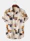 Mens Vintage Line Drawing Flower Print Street Short Sleeve Shirts - Apricot