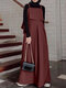Casual Solid Color A-Line Loose Sleeveless Maxi Dress - Wine Red