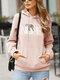 レタープリントポケット長袖カジュアルフーディー女性用 - ピンク