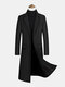Mens Woolen Single-Breasted Flat Collar Casual Long Overcoats With Flap Pocket - Black
