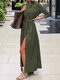 Solid Color Side Slit Casual Long Sleeve Shirt Dress - Army Green