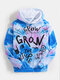 Mens Tie Dye Graffiti Print Loose Kangaroo Pocket Drawstring Hoodies - Blue