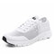 Women Round Toe Hollow Mesh Lace Up Walking Sneakers - White