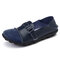 Large Size Women Splicing Leather Casual Hook Loop Soft Flat Loafers - Navy