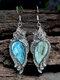 Alloy Bohemian Vintage Carved Malachite Geometric-shape Creative Flower Opal Earrings - Blue