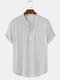 Mens Pinstripe Stand Collar Casual Short Sleeve Henley Shirts With Pocket - White