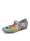 SOCOFY Retro Flower Decor Printed Cowhide Leather Stitching Cloth Comfy Round Toe Casual Flat Shoes - Blue