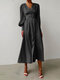Women Solid Color Patchwork Puff Sleeves V-neck Casual Dress - Black