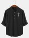Mens Plain Half Button Cotton Long Sleeve Henley Shirts With Sleeve Tabs - Black