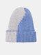 Unisex Knitted Color-match Irregular Patchwork All-match Warmth Beanie Hat - Light Blue+Light Gray