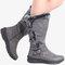 Women Winter Microfiber Warm Plush Zipper Snow Knee High Boots - Gray