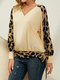 Leopard Print Patchwork Knotted Knitting Long Sleeve Sweatshirt - Apricot