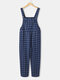 Plaid Print Pocket Sleeveless Casual Jumpsuit for Women - Navy