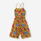 Girl's Retro Floral Print Sleeveless Casual Jumpsuit For 6-12Y - Orange
