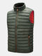Mens Zip Up Quilted Solid Sleevless Padded Vests With Welt Pocket - Green