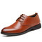 Men Comfy Microfiber Leather Soft Lace Up Business Casual Formal Shoes - Brown