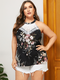 Lace Floral Print Halter Sleeveless Plus Size Tank Top for Women - Black