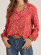 Stand Collar Long Sleeve Floral Print Button Women Casual Blouse - Red