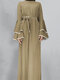 Solid Color Long Sleeve Knotted Muslim Maxi Dress - Khaki