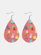 Easter Cute Colorful Bunny Print Leather Drop-shaped Earrings - 10