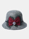 Women Woolen Cloth Solid Bowknot Decoration Outdoor Warmth Breathable Bucket Hat - Light Gray