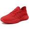 Men Mesh Fabric Breathable Non Slip Casual Walking Sneakers - Red
