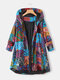 Ethnic Print High Low Hem Plus Size Hooded Jackets with Pockets - Blue