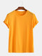 Mens Basic Cotton Solid Color Round Neck T-shirt - Yellow