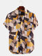 Mens 100%Cotton Color Block Chest Pocket Turn Down Collar Short Sleeve Shirts - Yellow