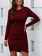 Solid Color O-neck Long Sleeve Pleated Midi Dress - Wine Red