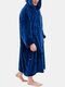 Men Flannel Heated Warm Comfortable Thick Oversized Calf-Length Blanket Hoodies Robes With Kangaroo Pocket - Blue