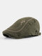 Men Cotton Letter Embroidery Cap Outdoor Leisure Wild Forward Hat Flat Cap - Army Green