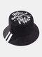 Cappello da pescatore unisex in cotone con stampa a lettera Modello in twill - Nero
