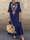 Vintage Embroidery V-neck Plus Size Dress - Navy