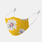 Women Breathable Printed Ethnic Mask Floral Mask  - Yellow