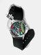Casual Watercolor Women Wrist Watch PVC Band Leaf Bird Fruit Pattern Men Quartz Watch - #07