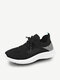 Women Casual Brief Color Block Patchwork Breathable Round Toe Flat Running Shoes - Black