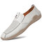 Men Woven Cow Leather Hand Stitching Driving Casual Loafers - White