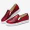 Women Plus Size Snake Pattern Comfy Slip On Flat Casual Shoes - Red