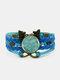 Vintage Plum Blossom Pattern Print Butterfly Braided Gemstone Multi-layer Bracelet - Blue