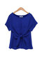 Solid Color O-neck Short Sleeve Bow Tie Chiffon T-Shirt - Blue