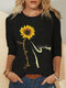 Cartoon Cat Floral Printed O-neck Casual T-shirt For Women - Black