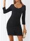 Solid Color V-neck Slit Hem Mini Sexy Dress For Women - Black